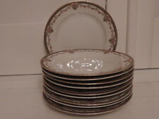 """Vintage French Limoges Set of 10 Tea/Dessert 6"""" Plates Pink Roses Bridal Wreath"""