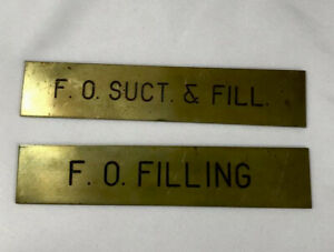 """2 Vintage Brass Navel Ship Plaque Placard Label F.O. Duct Fill Filling 5"""""""