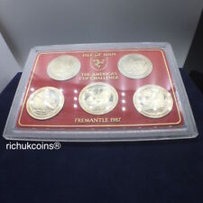 [1987 IOM Crown]5x IOM One Crown Coins The America's Cup Challenge Fremantle-UNC