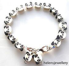 Hecho A Mano Hermoso Panda Pulsera Con Swarovski En Hermosa Caja-libre de envío