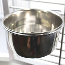800121 Stainless Steel 10 oz Cage Coop Clamp Bolt Cup Bird Dog Food Water Bowl