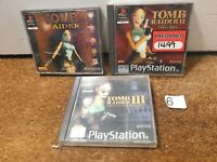 Tomb Raider Lara Croft Game Bundle 1 2 3 Playstation 1 PS1 Big Box -N6