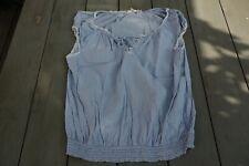 Logg blouse sans manche, lignée bleu blanc, dentelle 44, en coton