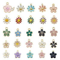 40pcs Assorted Mixed Enamel Alloy Daisy Flowers Pendant Charms DIY Accessories