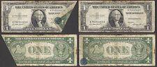 $1 1935-E Silver Cert=PRINTED FOLD=ERROR=MISTAKE=BLUE SEAL + SERIALS ON FLAP=VG