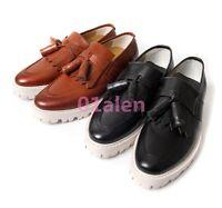 2017 Retro Mens Platform Dress Formal OxfordS Brogue Tassel Leather Loafer shoes