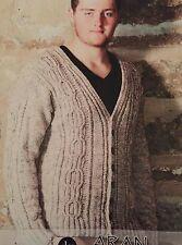 M5 - Knitting Pattern - Men's Aran Warm & Chunky Cardigan / Jumper
