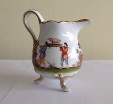 Gold trimmed Asian China Footed Pitcher Depicting Pig Party Preparation