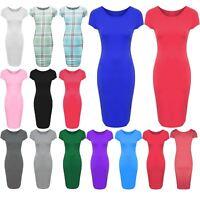 Girls Kids Plain Sleeve Cap Casual Maxi Stretchy Bodycon Midi Dress Top