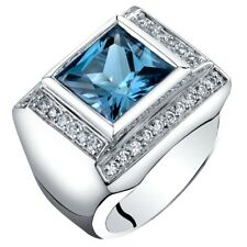 Men's 5 carats Natural London Blue Topaz Ring in Sterling Silver