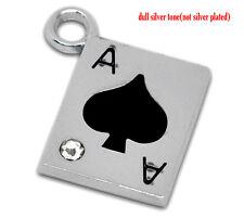 2 Pcs Silver Tone Rhinestone Enamel Ace Of Spades Poker 21x19mm LC0711