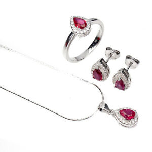 Pear Red Ruby 6x4mm Cz 14K White Gold Plate 925 Sterling Silver Sets