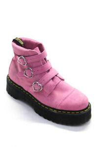 Dr. Martens  Womens Suede Buckle Strap Ankle Boots Pink Size 10