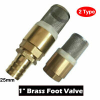"""Brass BSP Spring Check Valve + Stainless Strainer 1"""" - Foot Valve with hosetail"""