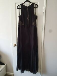 City Chic Black and Beige Floral Lace Maxi Ball Formal Dress Size L