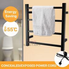 Wall mounted Black Electric Heated Towel Rack Warmer Rail 4 Bars Stainless Steel