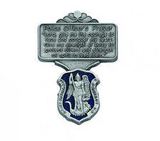 Visor Clip St Michael Police Medal Enamaled & Prayer Pewter Vintage Car Catholic