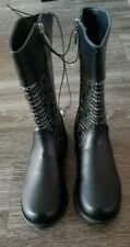 Bebe Little Girl Rain Boots Black and White Size 1