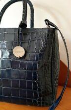Vintage Top Designer Furla Genuine  Leather Dark Blue Hand Shoulder Bag