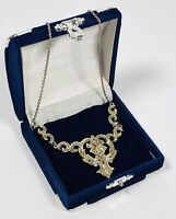 Vintage Signed Hollywood Necklace Silver Tone & Sparkly Marcasite Collar Length