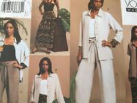 Vogue Sewing Pattern 2744 Misses Shirt Top Skirt Shorts Pants Size 12-16 Uncut