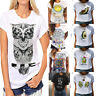 Womens Summer Short Sleeve T Shirt Casual Loose Tops Blouse Printed & solid Tee