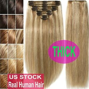 100gr~230gr Clip In Real Human Hair Extensions Full Head Double Weft Virgin Remy