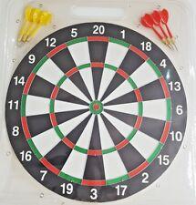 New Adults/Kids Full Size 17 Inch Dart Board 6x Darts Double Sided UK Seller
