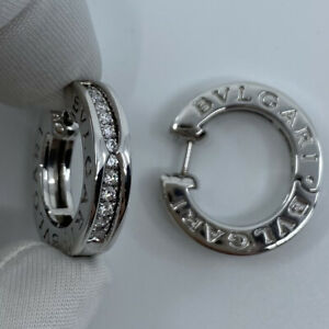 Bvlgari Bulgari Diamond B.Zero1 18k White Gold Hoop Stud Earrings In Box