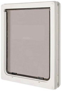 Pet Door Dog Extra Large Flap 366x441mm 2 Way White Gate Lockable Entrance New