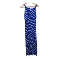 Chicos 2 Womens Sleeveless Maxi Dress Long Stretch Blue White Print Size Large