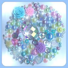 Aurora Borealis & Pastel Cabochon Gems Pearls flatbacks for decoden crafts AB #2