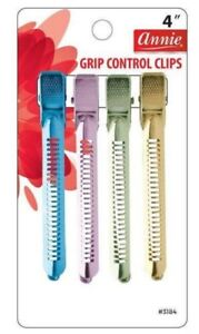 """Annie Grip Control Hair Sectioning & Separating Clips 4"""" Asst Color"""