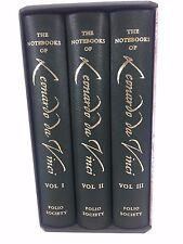 Notebooks of Leonardo Da Vinci Folio Society 3 Volumes 2009 Leather Like New