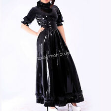 Latex Gummi Rubber Elegant Black Evening Skirt Black Woman Dress Size XXS-XXL