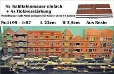 Neu Nr.1199 Kaimauer/Hafenmauer einfach m.Holzverstärkung 1:87 Resin f.Diorama
