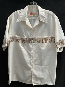 Vtg 70s Iolani Hawaii Hidden Pockets Off White Tribal Lightweight Shirt~Med