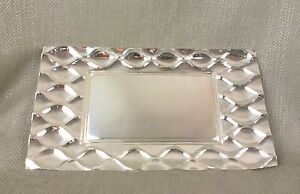 Serving Tray Silver Plated Modern Modern Design Rectangular