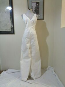 CHINO by ANTHROPOLOGIE WHITE COTTON STRETCH WRAP TOP PALAZZO LEG JUMPSUIT 2