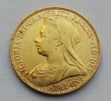 1894 Victoria Veiled Head Gold Half Sovereign Coin.
