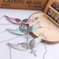 Sweater Chain Fairys Wing Cross Pendant Party Crystal Necklace Women Long MA