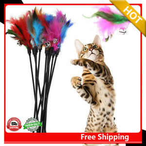 10X Katze Haustier Katzenangel Spielangel Spiel Spielzeug Feder Stock mit Glocke