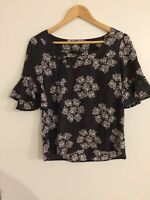 Laura Ashley Black And White Floral Butterfly Ruffle Sleeve Top 100% Silk UK 8