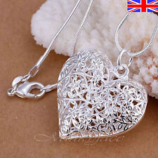 Silver 925 Sterling Heart Necklace Filigree Hollow Pendant Free Gift Bag