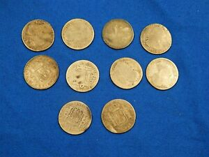 LOT OF 10 SILVER SPANISH COINS 2 REALES COLONIAL COINS - CHARLES III & IV