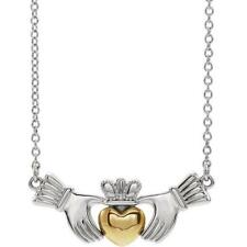14k White and Yellow Gold Claddagh Necklace