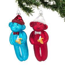 SOCK MONKEYS Whimsical Glass Christmas Ornaments NEW Set of 2 Dept 56