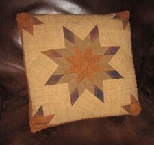 "Autumn Splendor Ohio Star Quilt Block 16"" X 16"" Accent Throw Pillow Tea Dyed"