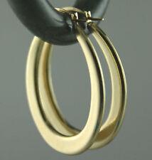"Italian Solid 14K Yellow Gold Oval Hoop Earrings GORGEOUS 1"" BIG 1.45 grams NICE"