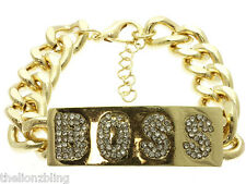 Hip Hop & Club Fashion Gold Chain Bracelet with BOSS Pendant in Crystal Bling